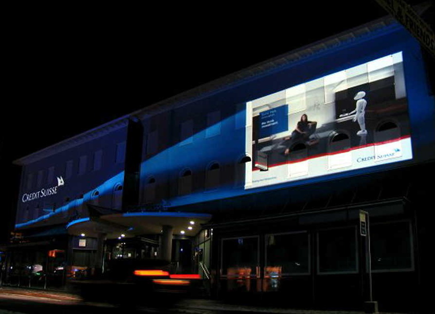 projection advertising Guerilla projection advertising is defined as the placement of projected brand advertising (still images or motion video) on buildings to create an undeniable street presence that most consumers find interesting, edgy and often captivating.